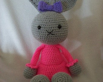 Grey Bunny with Hot pink dress,purple bow,around 18 in tall,Hand Crochet.ages 3 & up