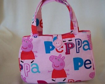 Peppa pig Little girls handbag in Pink Peppa print Cotton Cloth. Comes in two sizes, Handmade.