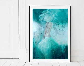 Instant download, Large print, contemporary art, figure painting, romantic woman print, digital , Woman,turquoise,nude,bedroom design