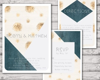 Geo Luxe Wedding Invitation Suite - Print at Home Files or Printed Invitations - Geometric Personalised Wedding Invite Suite