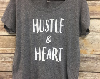 Hustle and Heart womens slouchy tee, graphic tee, womens tee, weekend tee