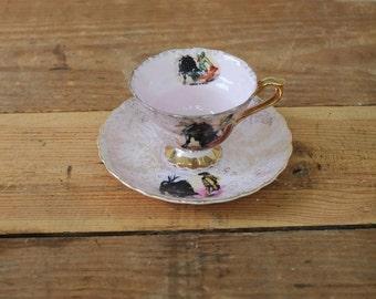 Vintage Tea Cup and Saucer, Souvenir of Mexico Tea Cup & Plate, Matador and Bull, Bullfight, Tauromachia, Corrida de Toros, Mexican Decor