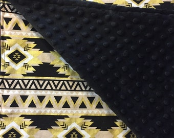 Black and Gold Aztec Minky Blanket