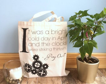 Nineteen Eighty Four Quote Tote - Literary Tote - Book Tote - Bookish Gift - Literature Tote - Book Bag - Bookish Market Bag
