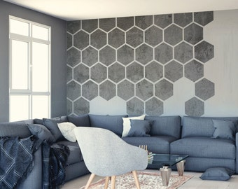 Removable Concrete Honeycombs, Self Adhesive Wall Decal, Concrete Wallpaper, Home and Office Interior Decor