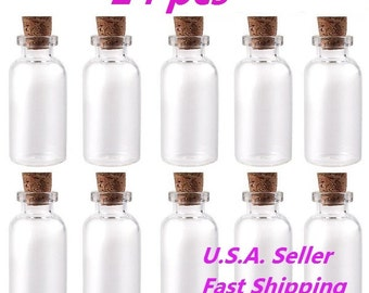 "24Pcs Size: 1-1/2"" Tall X 3/4 Inches Diameter Mini Clear Message Bottles Wishing Glass Bottles Vials With Cork ---------- USA SELLER"
