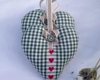 Lavender heart sachets   Green & white check   Home fragances