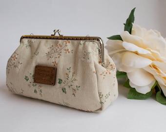 Linen floral clutch