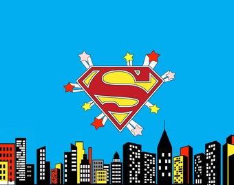Superhero Backdrop Etsy