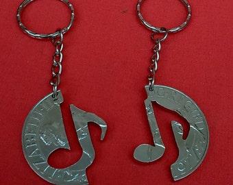 Musical Notes Interlocking Handmade Large Cut Coin Key Chain Fobs - Friendship in Harmony Jigsaw British Crown