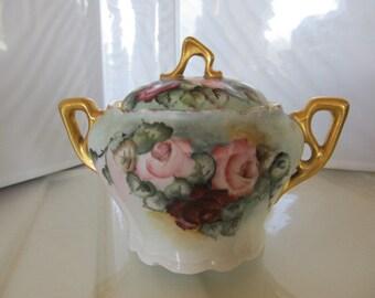 Handpainted Rose Motif Lidded Sugar Bowl signed by Artist