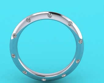 Platinum knife edge 2mm  diamond 20 stone  wedding  ring/ diamond wedding ring / platinum diamond / eternity ring / engagement ring /