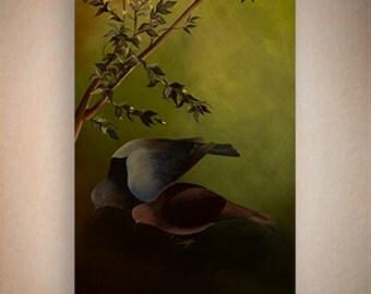 "Acrylic Painting on canvas 60"" - ""pigeons"" - Original art By Amit Yalin"