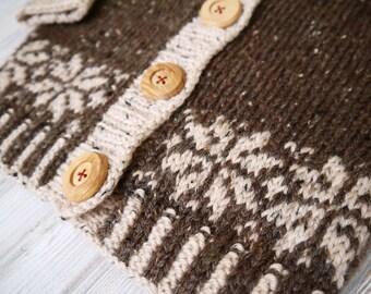 Fairisle/Nordic Style Hooded Knit Jacket
