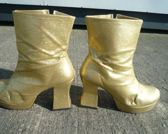 70's Gold Glitter Ankle Boots