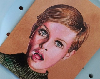 Original Hand painted Moleskine, Fan Art illustration Twiggy, Illustrated Cover original Notebook, Plain pages, Large Journal, iconic models