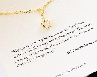 Tiny Gold Crown Necklace, crown necklace, gold crown necklace, tiara charm necklace, William Shakespeare quote, necklace, book lover gift