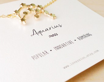 Aquarius Necklace, aquarius constellation necklace, constellation necklace, zodiac necklace, star sign necklace, aqaurius jewelry, 14k