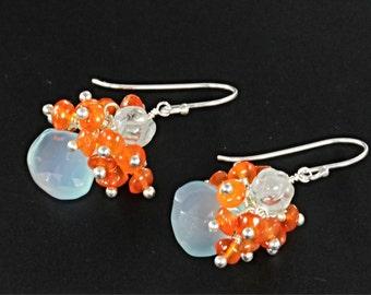 Aqua Blue Chalcedony Blue Topaz Carnelian Cluster Sterling Silver Earrings