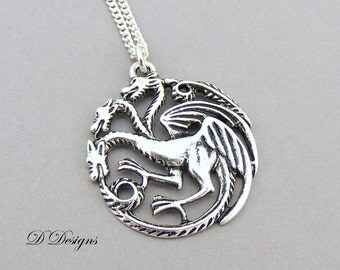 Dragon Necklace, Silver charm Necklace, Dragon Charm Necklace, Dragon Pendant, Silver Necklace, Gifts for her, Christmas Gift