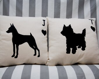 Personalized Dog silhouette pillow cover
