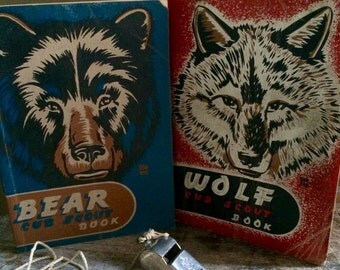 Vintage Bear Cub Scout book, Wolf Cub Scout book and Boy Scout whistle collection