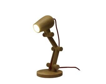 Adjustable Cylinder Wooden Table Lamp