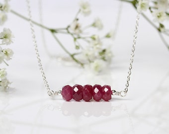 Mozambique Ruby Necklace, Genuine Natural Red Ruby Pendant, Minimal Gemstone Bar Jewelry, Sterling Silver, July Birthstone,Birthday Gift Her