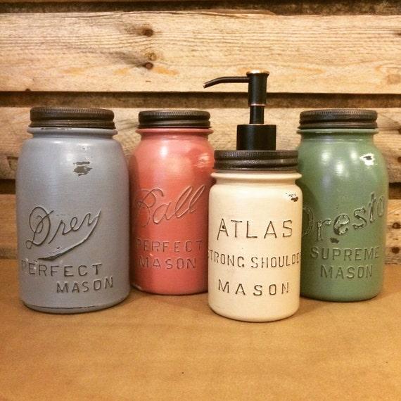 Mason Jar Kitchen Decor Set: Vintage Mason Jar Canisters Rustic Kitchen Decor Mason Jar