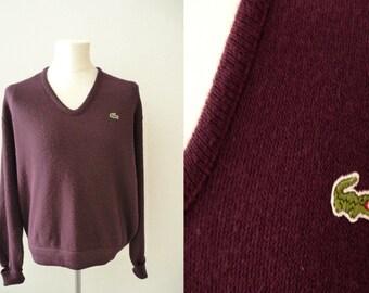 60's Vintage Izod Lacoste Sweater | 60's Lacoste Jumper | Izod Lacoste Jersey | Purple Lacoste