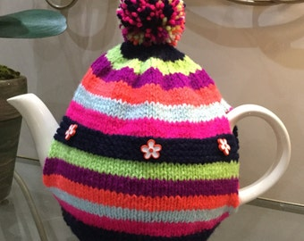 Colourful Hand Knitted Tea Cosy ( ALL proceeds to the Cystic Fibrosis Trust)