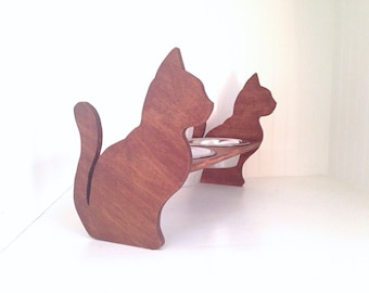 Cat bowl feeder, cat bowl stand, elevated cat bowl, decorative cat dish, cat food stand, cat dish, double feeder, pet food bowl,