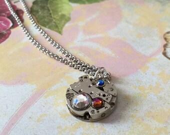 SALE- Steampunk Necklace With Swarovski Elements, Watch Movement Necklace, Steampunk Jewelry, Swarovski Elements Necklace