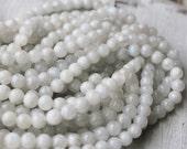 6mm Moonstone AB Quality White Gemstone Mala Bead Supply Genuine Gemstone Semi Precious Smooth Glossy Round