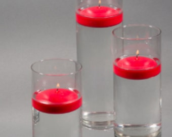 36 Red Floating Candles and Vase Holder, Clear Glass Cylinder holder, Floating Candle Bulk set Candle Holders, Water Bulk candle Lot Red