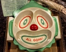 Vintage Bicor (Brother) Unused Baby Food Warming Clown Plate With Box, Cord & Instructions 1960s--VERY RARE!