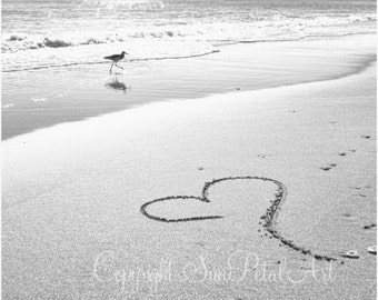 Heart in the Sand, Black and White Print, Beach Wall Art, Black and White Photograph, Beach Art, Ocean Decor, Fine Art Print, Black, White.
