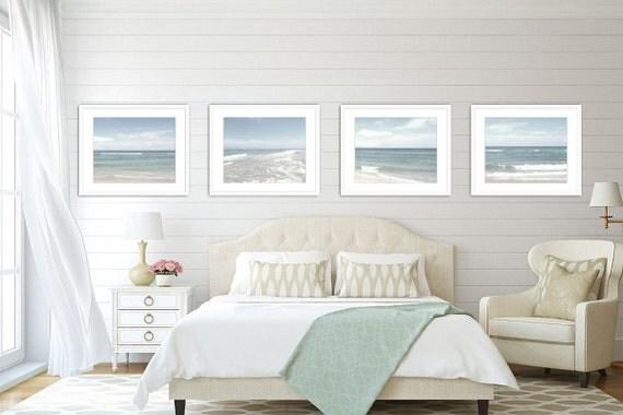 Ocean Wall Art Set of 4 Prints, Ocean Photography, Living Room Decor, Beach Cottage Decor, Ocean Decor, Print Set, Pale Blue, Set of 4.