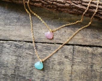 Leaf Necklace, Teardrop Necklace, Crystal Necklace, Multistrand Necklace, Layered Necklace, Gold necklace, Dainty necklace