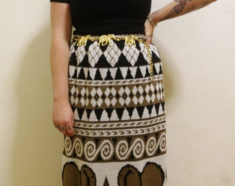 Vintage 1990's Knitted wool tribal elephant maxi skirt size 12-14