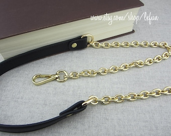 Black Synthetic Leather&Golden Chain Purse Strap