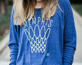 Memphis Basketball Women's Raglan Long Sleeve Shirt