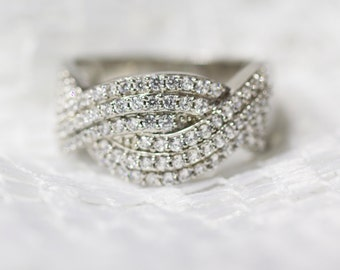 Sterling Silver & Cubic Zirconia Wide, Chunky Dress Ring