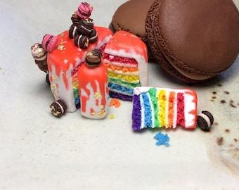 FREE SHIPPING OOAK 1:12 Scale Dollhouse Miniature Collectibles Rainbow Macaron Birthday Cake Polymer Clay Desserts Food Waldorf Toys Lolita