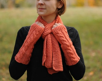 Scarf and Finger-less Gloves Set - Persimmon