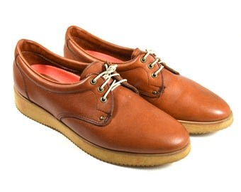 Vintage Brown Leather Derby Shoes 8.5 Mens | Cognac Brown Leather Lace Up Oxfords | Low Ankle Leather Hipster Shoes | Maine Woods Vibram