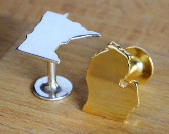 State Cufflinks - choose your state and material. Awesome groomsman gift!