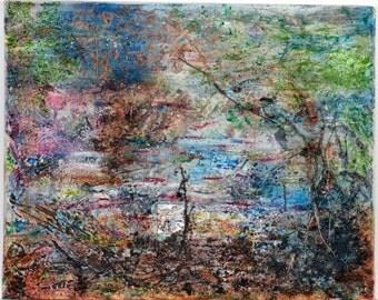 "My Home Garden, 16""x20"" Mixed Media on canvas, one original piece! By Mona William, Arizona 2015"