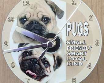 Pug Dogs, Chinese Pug, Dutch Bulldog, Mops CD Clock(Can be personalised)