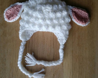 Crochet lamb hat, Made to Order